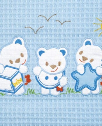 Bear Blue - Κουβέρτα Πικέ Αγκαλιάς Be-be 80X110 Adam home - morfeohome