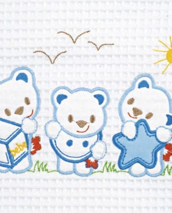 Bear White Blue - Κουβέρτα Πικέ Αγκαλιάς Be-be 80X110 Adam home - morfeohome