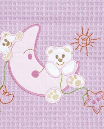 Moon Pink - Κουβέρτα Πικέ Αγκαλιάς Be-be 80X110 Adam home - morfeohome